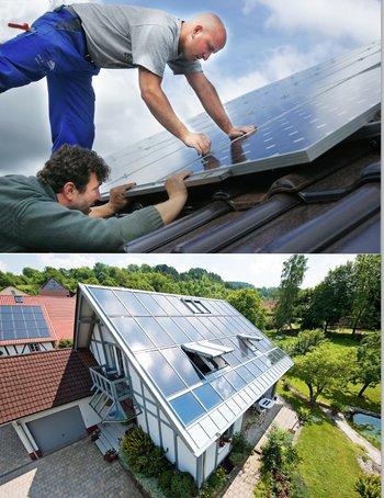 Indach- & Aufdach Photovoltaiksysteme – Definition & Erklärung (Fotos: Gussek/Roto)