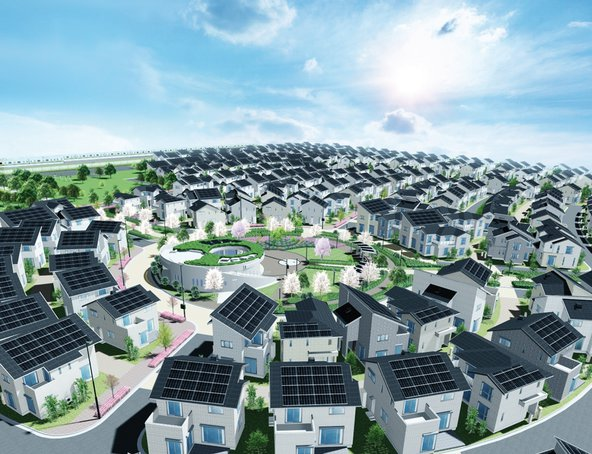 50 Kilometer westlich von Tokio wird die Stadt Fujisawa erbaut.