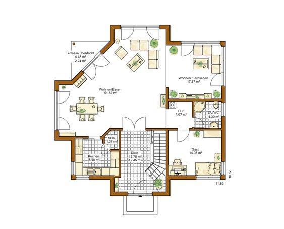 Grundriss erdgeschoss rensch musterhaus provence jpg