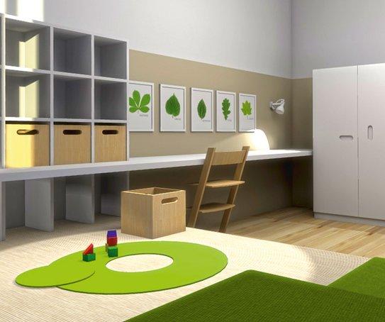 Ein offenes Regal bietet Präsentationsflächen, Materialkisten Stauraum, im Podest sind Schubladen untergebracht.