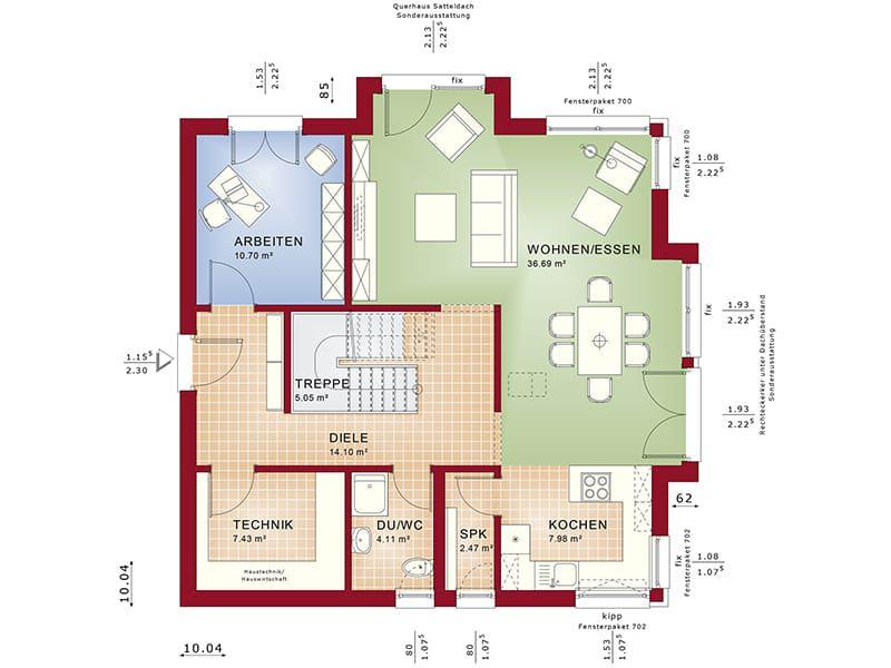 Grundriss Erdgeschoss Fantastic 161 V4 von Bien-Zenker