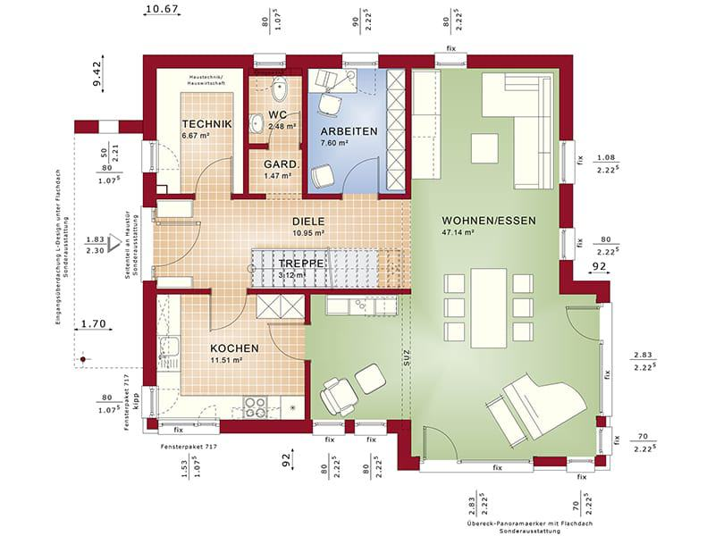 Grundriss Erdgeschoss Fantastic 162 V4 von Bien-Zenker
