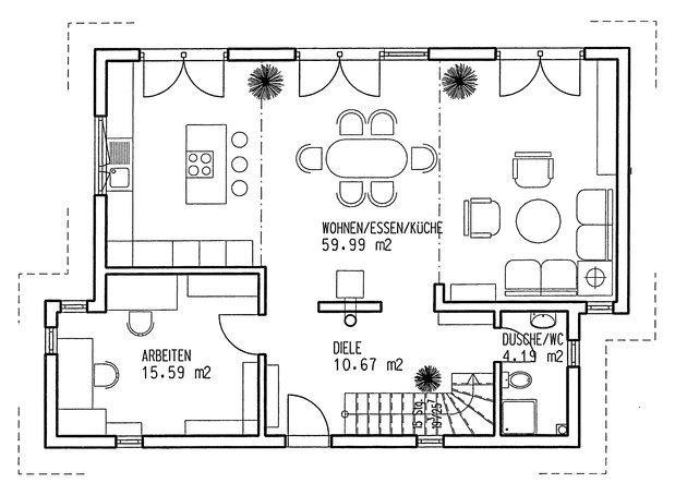 Einfamilienhaus grundriss mit ma e for Grundriss modernes einfamilienhaus