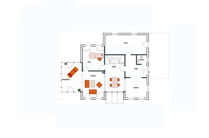 """Grundriss Erdgeschoss: Massivholzhaus """"Traubeneiche"""" von Stommel-Haus"""