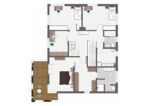 Grundriss Obergeschoss Entwurf Waldsee von Gussek Haus