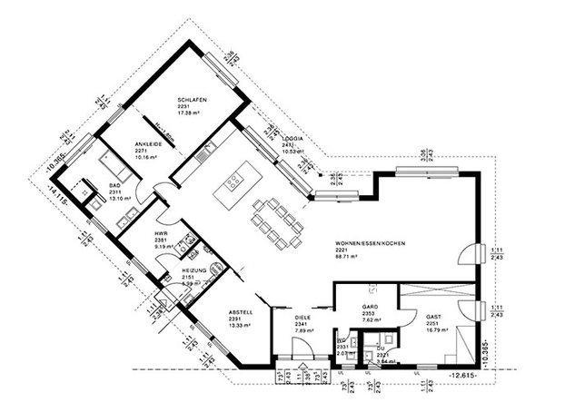 Bauhaus bungalow von haacke haus for Grundriss wohnhaus