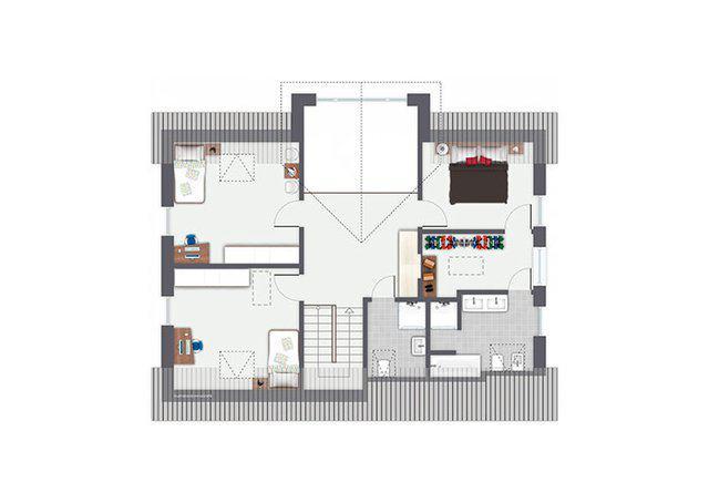 Grundriss Dachgeschoss Entwurf Sanderau von Gussek Haus