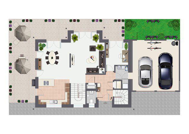 Grundriss Erdgeschoss Entwurf Sanderau von Gussek Haus