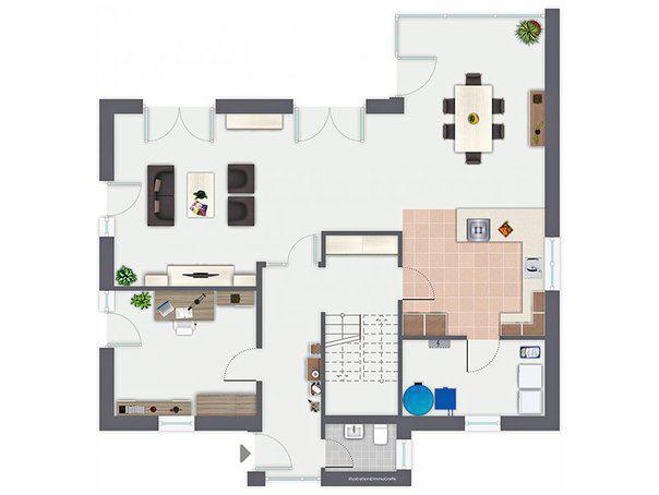 Grundriss Erdgeschoss Musterhaus Mila von Gussek Haus