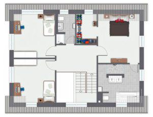 Grundriss Obergeschoss Musterhaus Mila von Gussek Haus