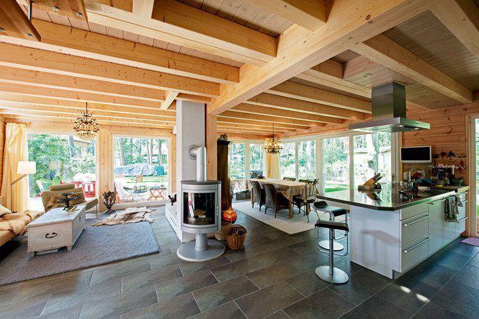 Blockhaus im gr nen von fullwood for Blockhaus innen modern