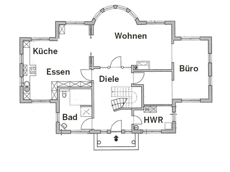 Grundriss Erdgeschoss Villa 900KL von ARGE Haus