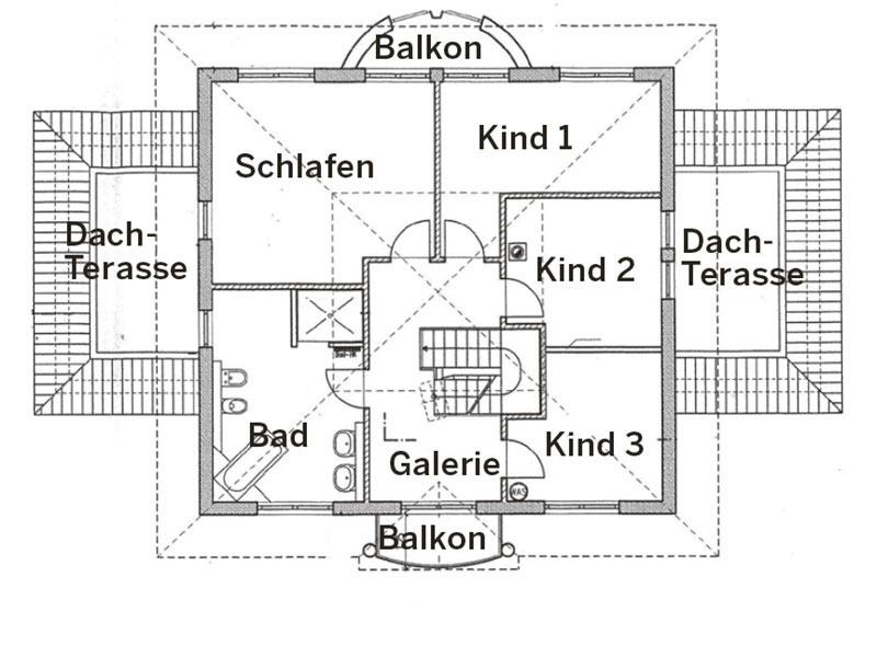 Grundriss Obergeschoss Villa 900KL von ARGE Haus