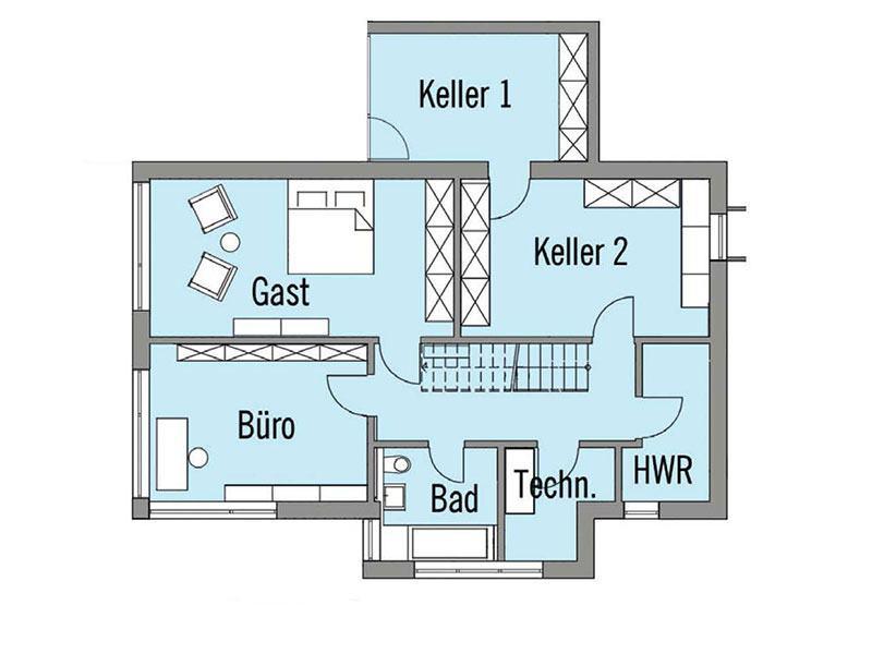 Grundriss Untergeschoss Wiesenhütter