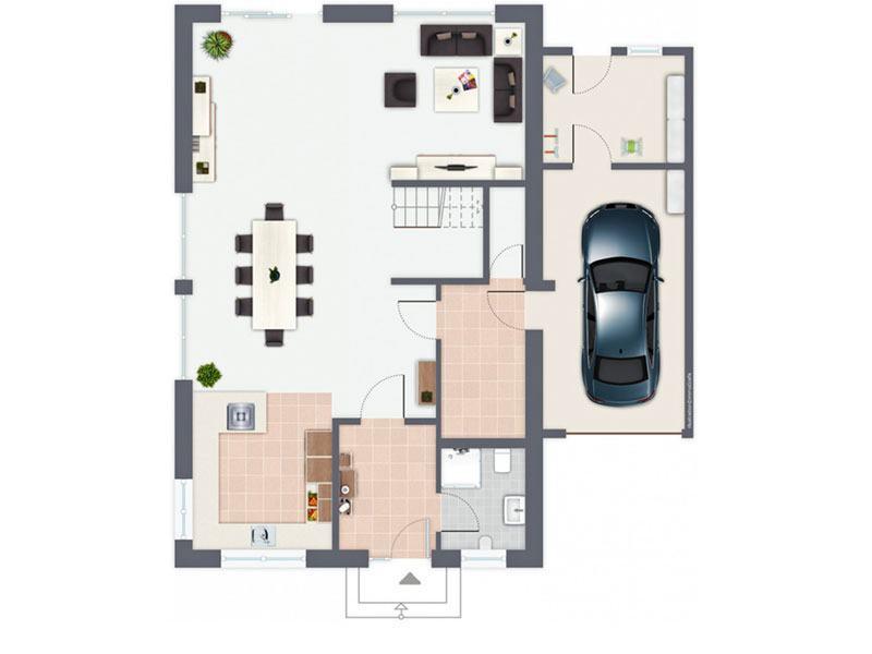 Grundriss Erdgeschoss Haus Vomero von Gussek Haus