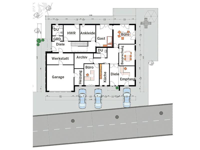 Grundriss Erdgeschoss Effizienzhaus 55 von Haacke Haus