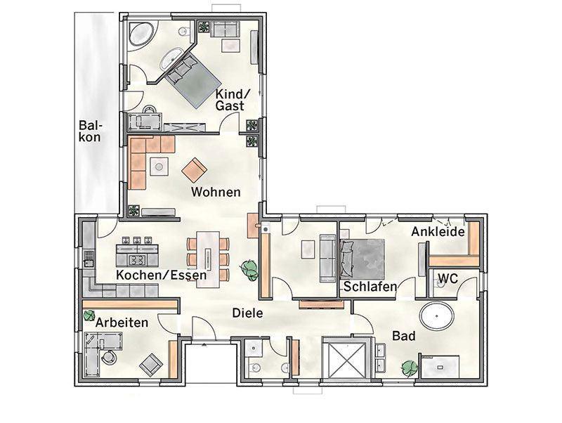 Grundriss Erdgeschoss Haus Modicus M52 von Heinz von Heiden