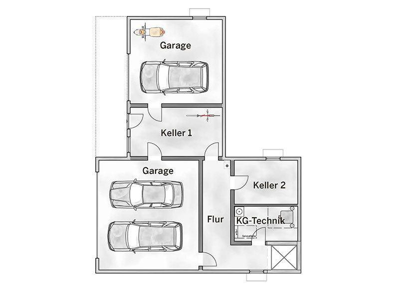 Grundriss Kellergeschoss Haus Modicus M52 von Heinz von Heiden
