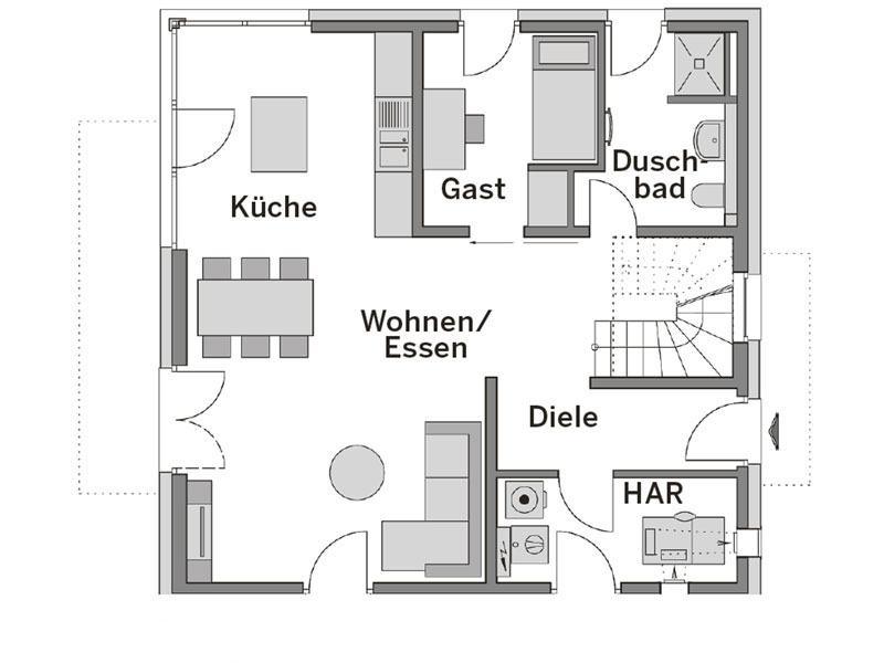 Grundriss Erdgeschoss Stadtvilla 140 Heinz von Heiden