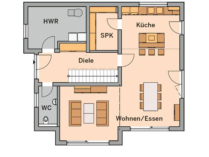 Grundriss Erdgeschoss Haus Vero (Foto: Kern-Haus)