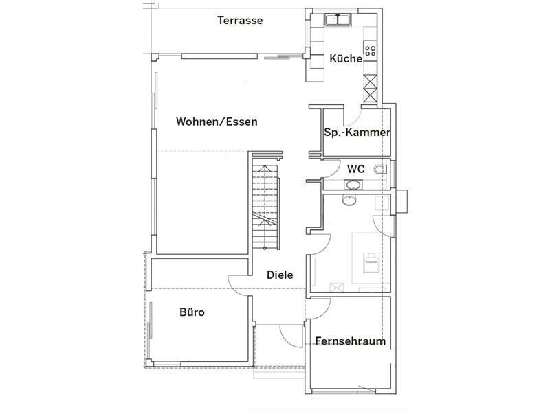 Grundriss Erdgeschoss Haus Pultdach Klassik 197 von LUXHAUS