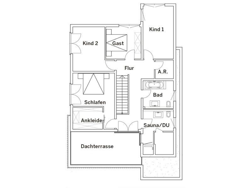 Grundriss Obergeschoss Haus Pultdach Klassik 197 von LUXHAUS