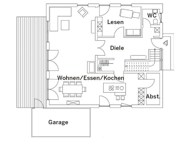 Grundriss Erdgeschoss Haus München von Regnauer Hausbau