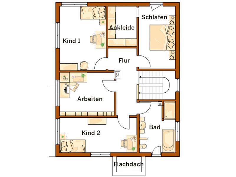 Obergeschoss Kundenhaus Frankfurt (Grundriss: Rensch Haus)