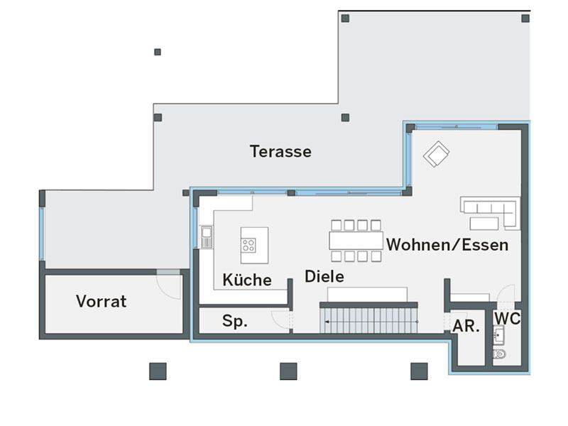 Grundriss Untergeschoss Haus Mercanti von Weberhaus