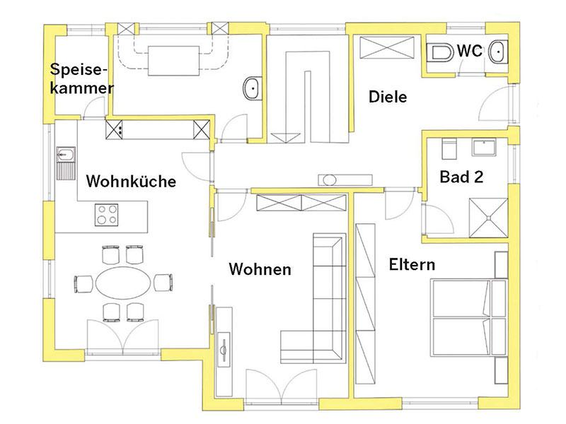 Grundriss Erdgeschoss Haus Acacia von FischerHaus