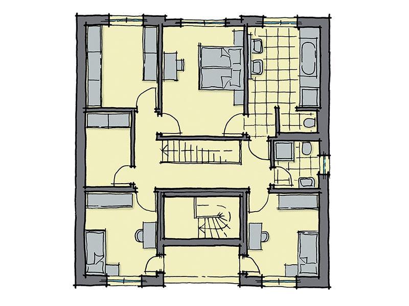 Grundriss Obergeschoss Haus Barcelona von GUSSEK HAUS