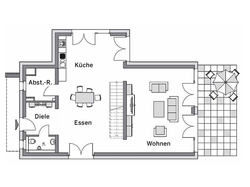 Grundriss Erdgeschoss Musterhaus Glinde von Heinz von Heiden