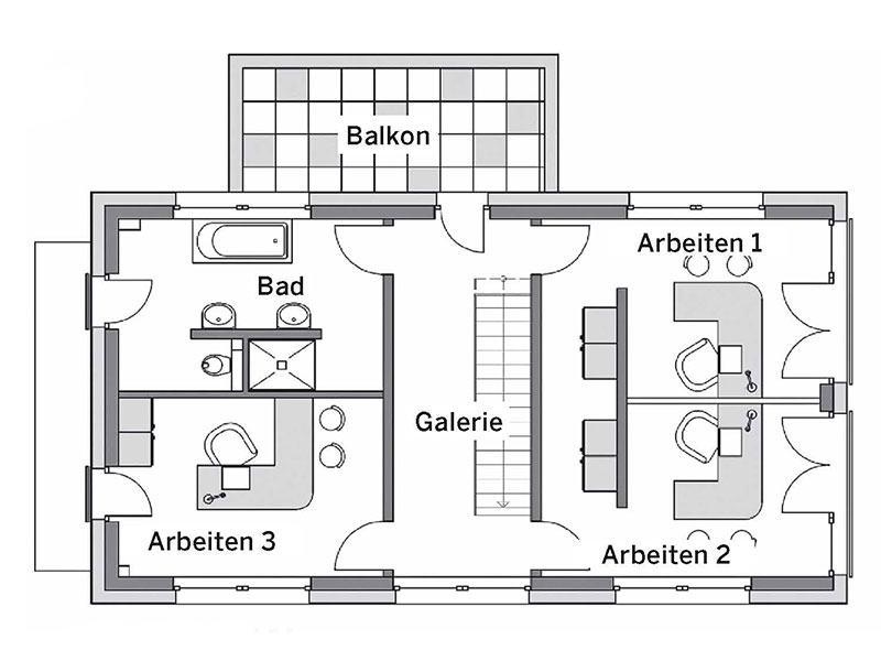 Grundriss Obergeschoss Musterhaus Glinde von Heinz von Heiden