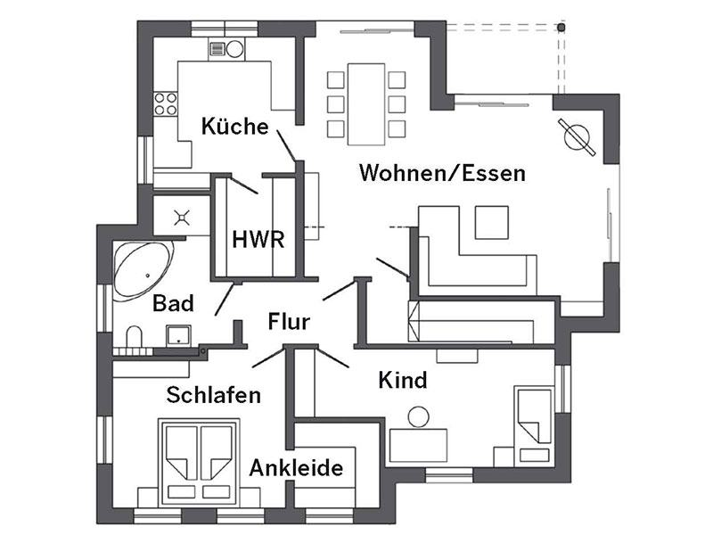 Grundriss Erdgeschoss Haus Schmid von SchwörerHaus