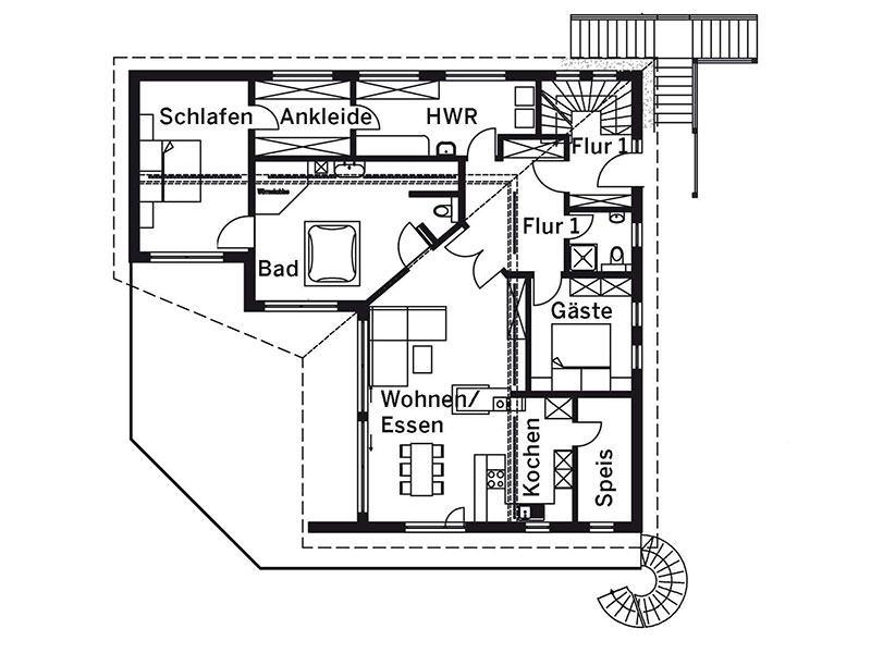 Grundriss Erdgeschoss Haus Langmeyer von Sonnleitner