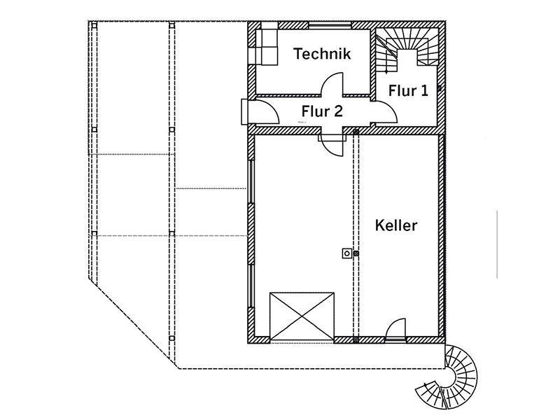 Kellergeschoss Haus Langmeyer (Grundriss: Sonnleitner)