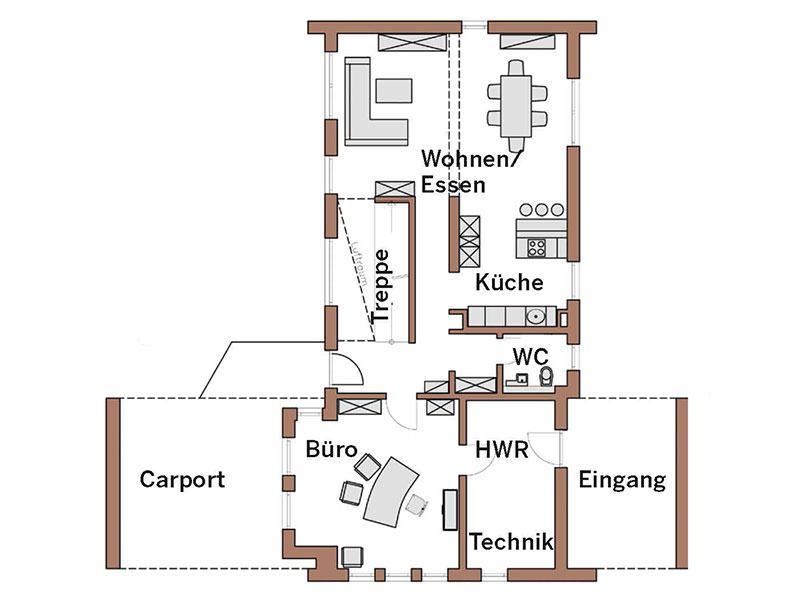 Grundriss Erdgeschoss Haus Wincheringen von Wolf System