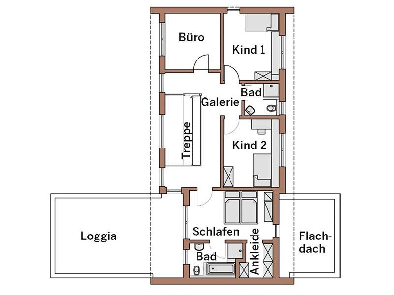 Grundriss Obergeschoss Haus Wincheringen von Wolf System