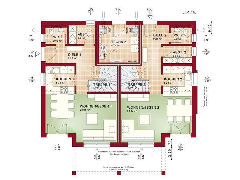 Grundriss Erdgeschoss Celebration 192 V5 (Bien-Zenker)