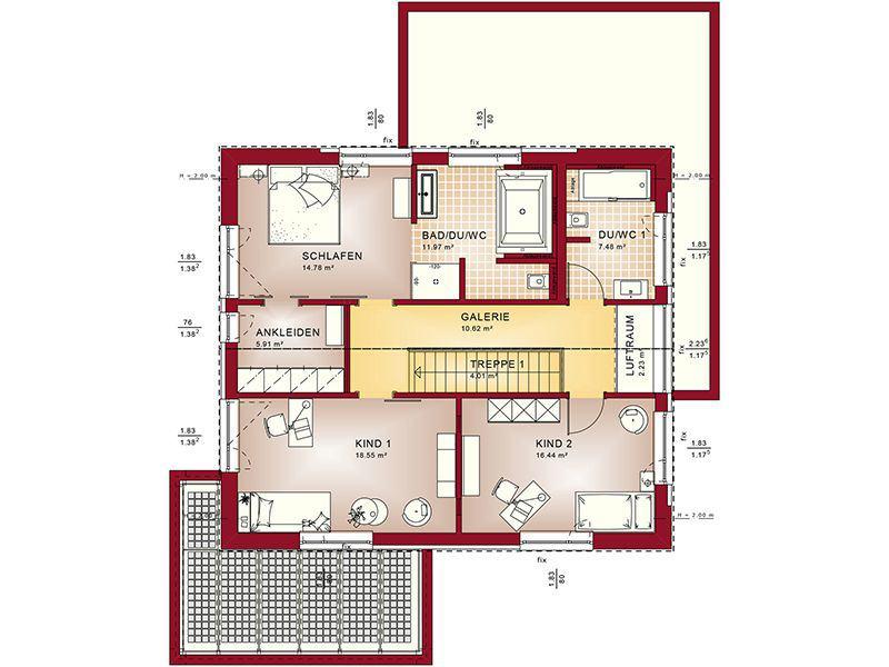 Grundriss Dachgeschoss Concept-M 172 Köln (Bien Zenker)