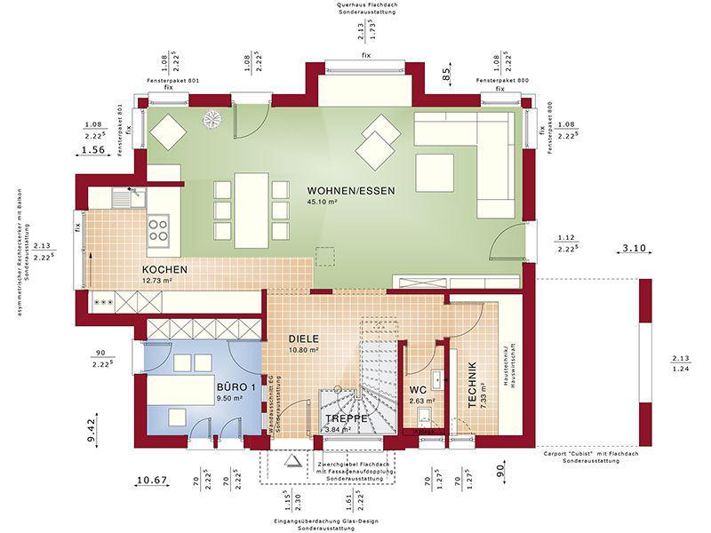 Grundriss Erdgeschoss Concept-M 167 Rheinbach (Bien-Zenker)