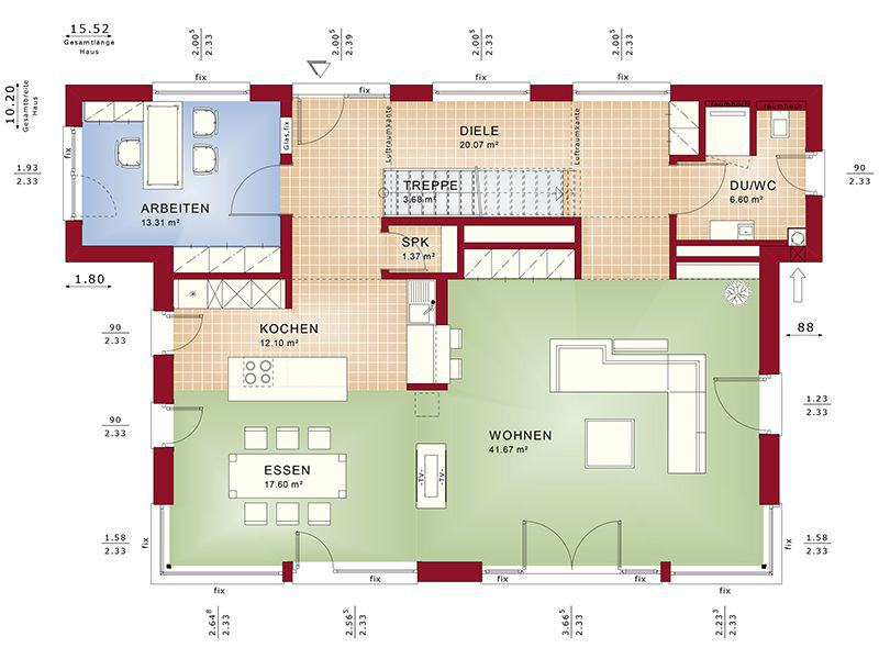Grundriss Erdgeschoss Concept-M 188 Wuppertal (Bien-Zenker)