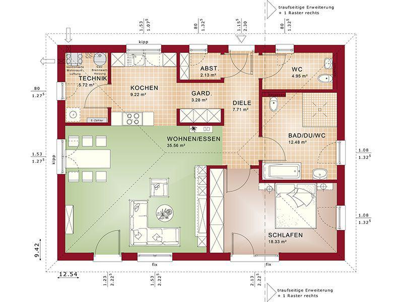 Grundriss Barriereoptimiertes Erdgeschoss Evolution 100 V4 (Bien-Zenker)