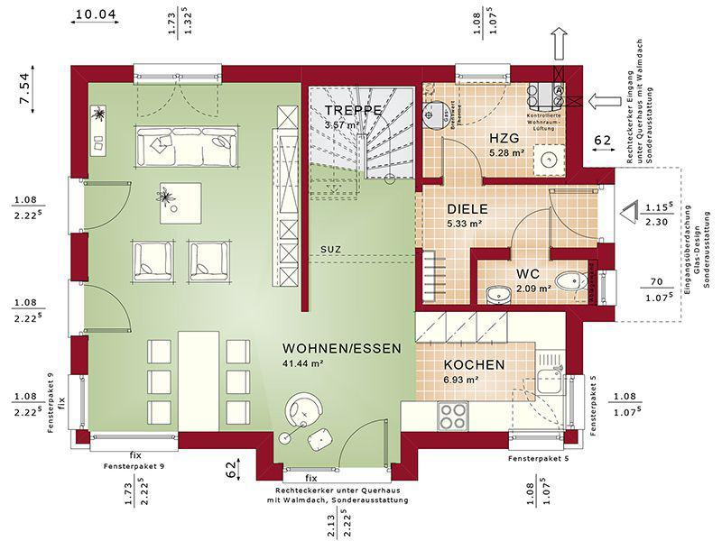 Grundriss Erdgeschoss Evolution 122 V14 (Bien-Zenker)