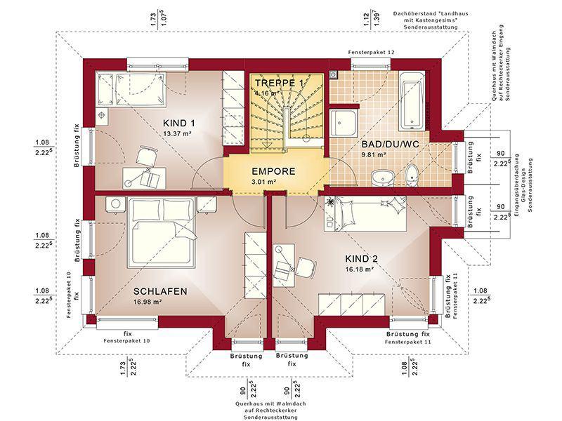Grundriss Obergeschoss Evolution 122 V14 (Bien-Zenker)