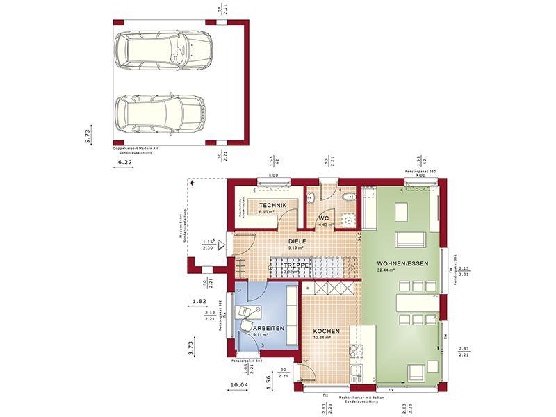 Grundriss Erdgeschoss Evolution 134 V8 (Bien-Zenker)