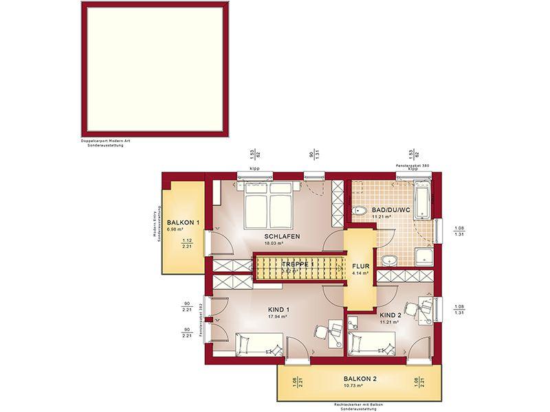 Grundriss Obergeschoss Evolution 134 V8 (Bien-Zenker)