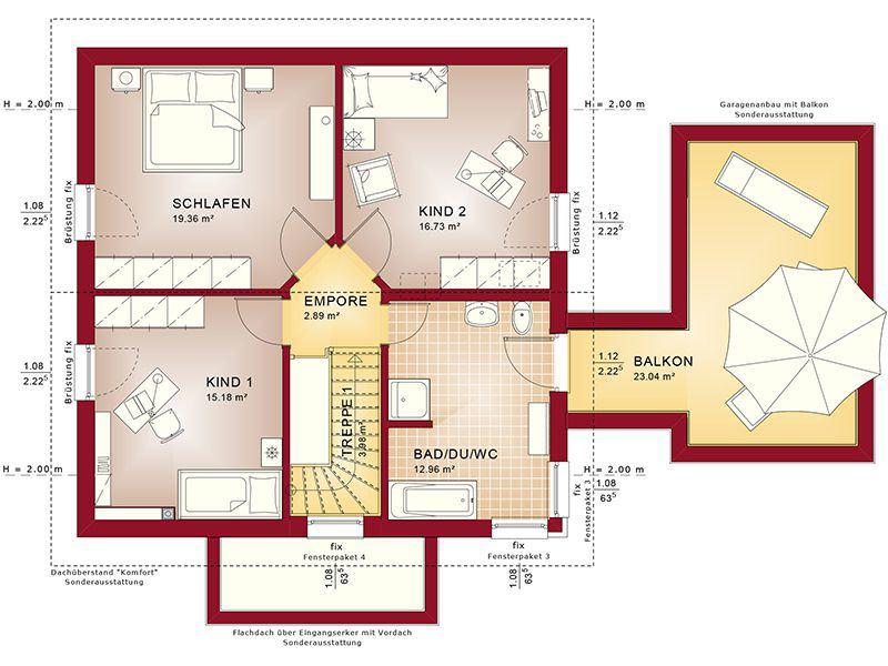 Grundriss Dachgeschoss Evolution 143 V6 (Bien-Zenker)