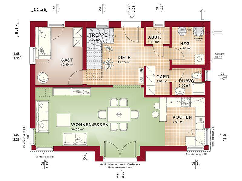 Grundriss Erdgeschoss Evolution 148 V9 C (Bien-Zenker)