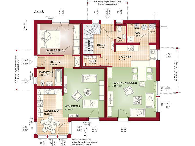 Grundriss Erdgeschoss Evolution 207 V2 (Bien-Zenker)